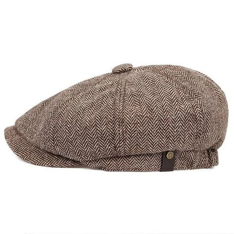 Traditional Fishbone Twill Cotton Tweed Cap