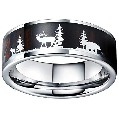 Tungsten Carbide with Christmas Pattern Wood Inlaid Background Ring