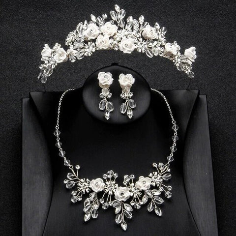 White Ceramic Rose & Beads Tiara Jewelry Collection