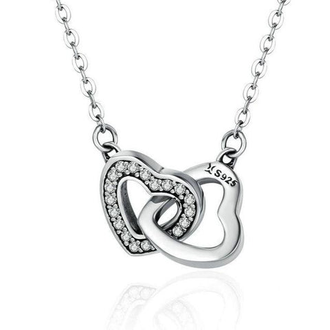 Crystal Pave Open Heart Charm Pendant Necklace