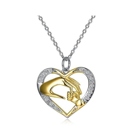 Gold & Silver Mother and Child Sterling Silver Pendant Necklace