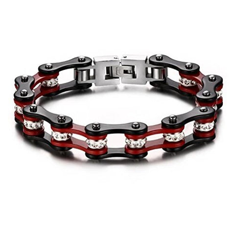 Red and Black Stainless Bicycle Chain with Rhinestone