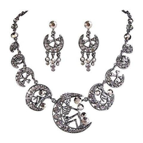 Austrian Crystal Vintage Skull Cross Moon Necklace Earrings Set