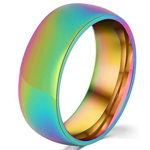 Stainless Steel Rainbow Gay Lesbian LGBTQ Pride Engagement Band