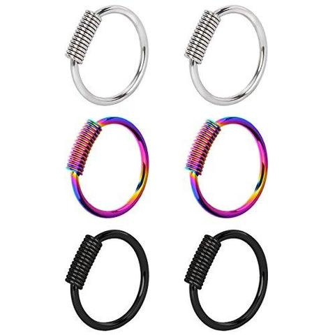 3 & 6 Piece Set Surgical Steel Continuous Nose Hoop Rings