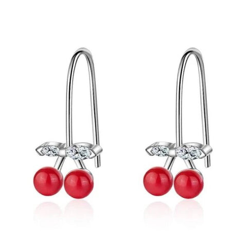 White CZ Crystal Red Cherry Silver Hook Earrings