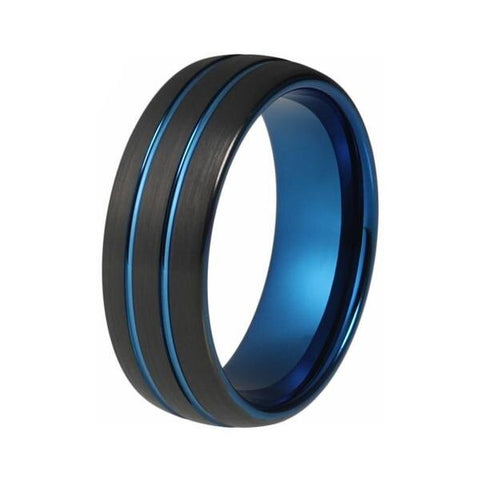 Matte Black & Blue Plated Tungsten Ring