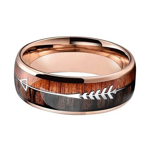 Tungsten with Arrow and Double Wood Inlay Ring