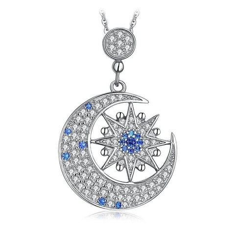 Crescent Moon Eight Pointed Star Crystal Pave Sterling Silver Necklace