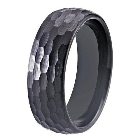 Sleek Hammered Black Tungsten Wedding Ring