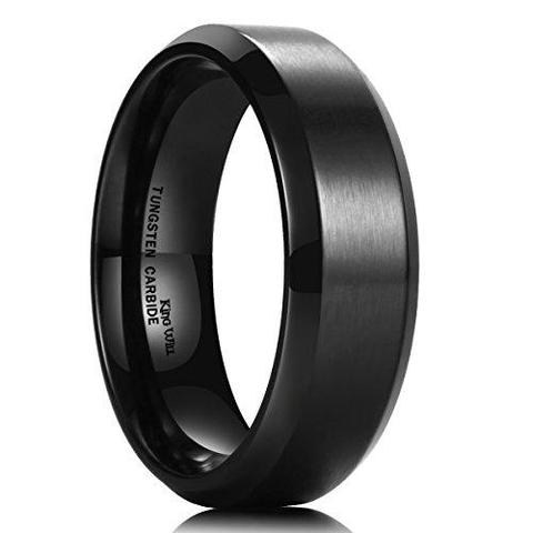 Classic Brushed Matte Titanium Black Wedding Band For Men