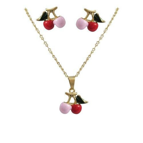 Gold Pink Red Cherry Earrings Chain Necklace Set