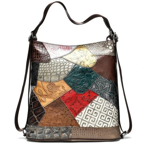 Bohemian Sling Backpack Multi-Color Pattern Leather Bag