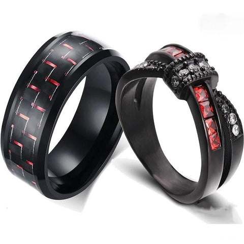 Black Ribbon Pave Carbon Fiber Stainless Ring Set