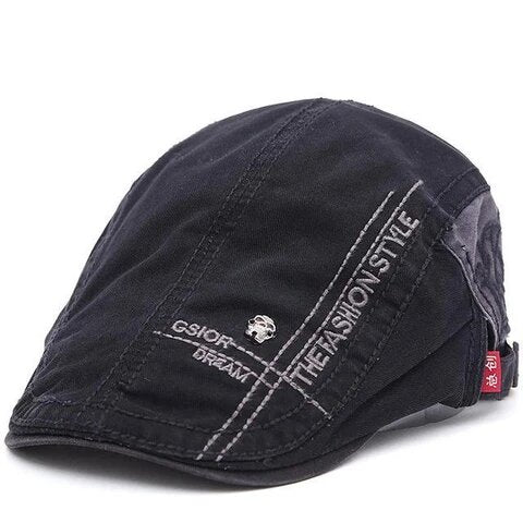 Sporty Cotton Denim Flat Cap