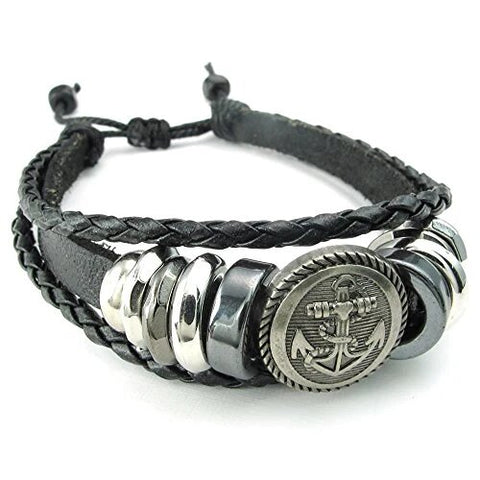 Adjustable Braided Leather Bracelet with Anchor Charm Amulet