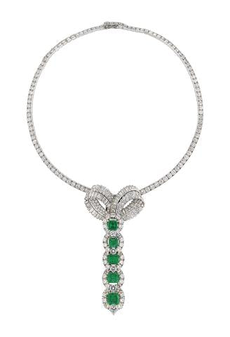A Brilliant Emerald and Diamond Necklace by Cartier