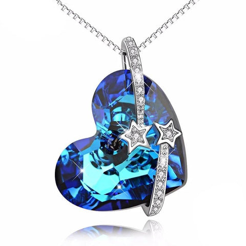 Wishing Star Blue Crystal Heart Sterling Silver Pendant Necklace