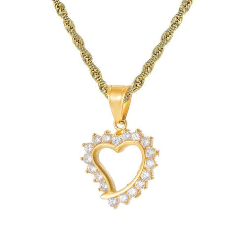 Open Heart Crystal Halo Gold Stainless Steel Necklace