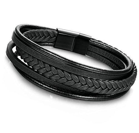 Multi-strap Braided Leather Wrap Bracelet Stainless Steel Magnetic-Clasp