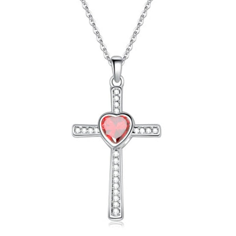 Crystal Pave Colored Heart Crystal Titanium Pendant Necklace