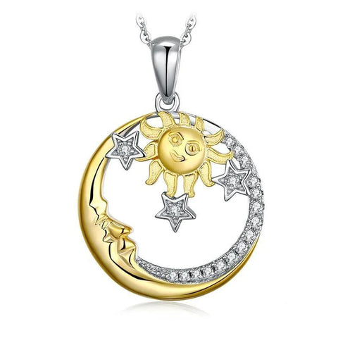 Gold & Silber Star Sun Moon Sterling Silver Pendant Necklace