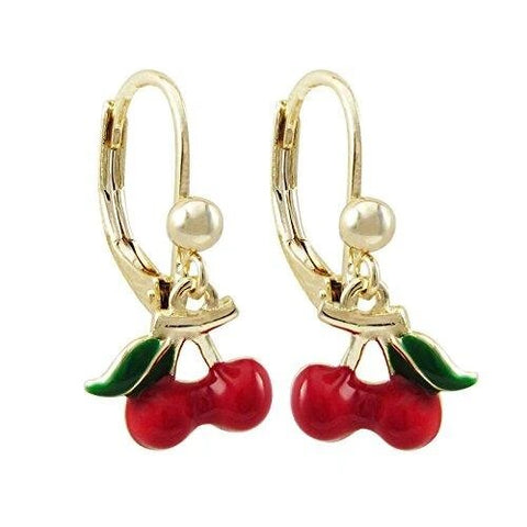 Gold Red Green Enamel Hook Cherry Earrings for Ladies