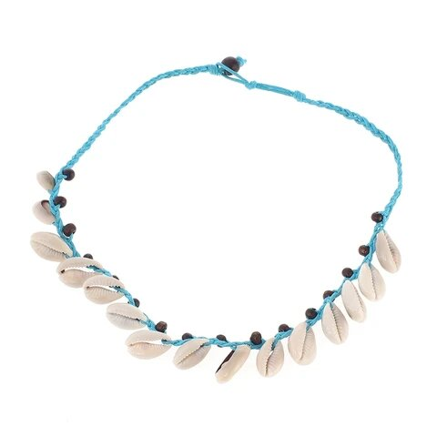 Braided Sky Blue Rope White Puka Shell Necklace