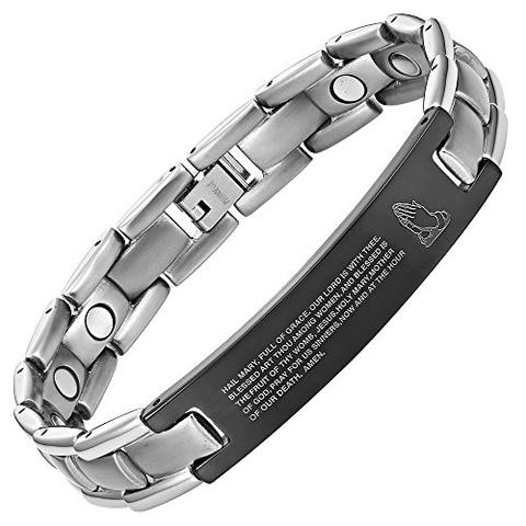Titanium Engraved Hail Mary Prayer Magnetic Bracelet