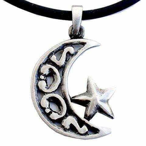 Moon Star Gypsy Pewter Pendant Black Vinyl Cord