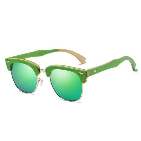 Wooden Green Frame Eyewear with UV Protection
