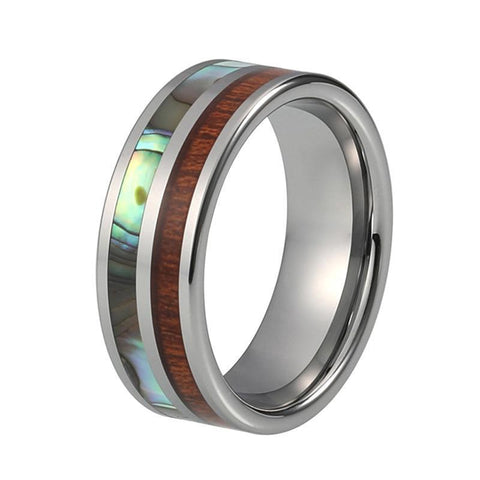 Off-center Brown Wood Abalone Shell Tungsten Ring