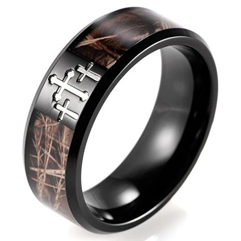 Men's Black Titanium Engraved Cross Brown Wedding Band