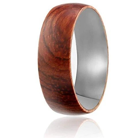 Tungsten with Natural Rose Wooden Layer Wedding Band Ring