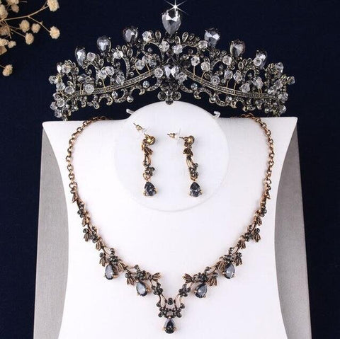 Plated Stainless Black Crystal Tiara Jewelry Set