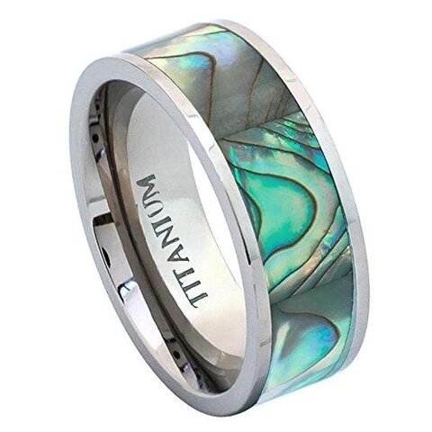Titanium Pipe Cut with Rainbow Abalone Inlay Wedding Band