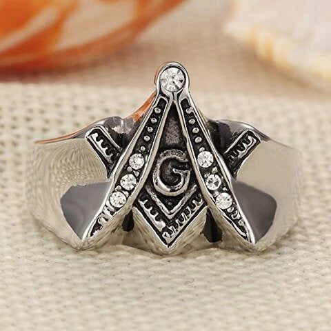 Men's Stainless Steel with Cubic Zirconia Masonic Ring
