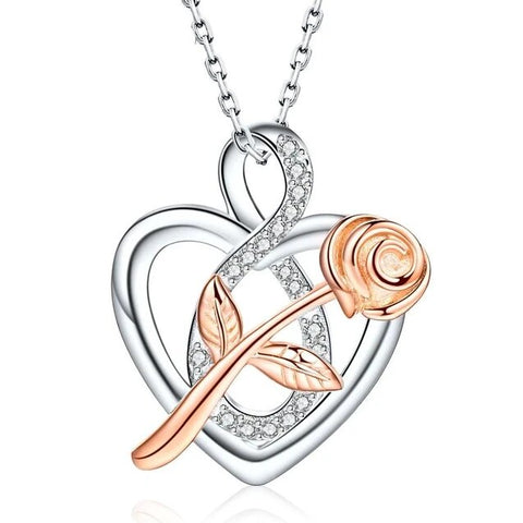 Silver & Rose Gold Rose Crystal Sterling Silver Open Heart Necklace