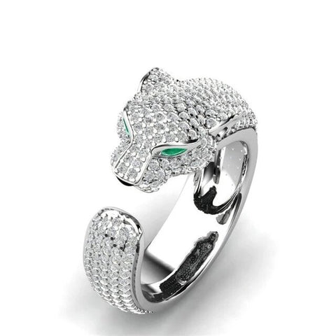 Green Eyed Crystal Stainless Steel Fashion Ring