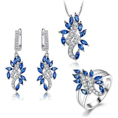 3PC Blue & White Cubic Zirconia Sterling Silver Bridal Set
