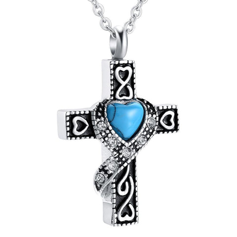Simulated Blue Heart gem Pave Ribbon Cross Necklace