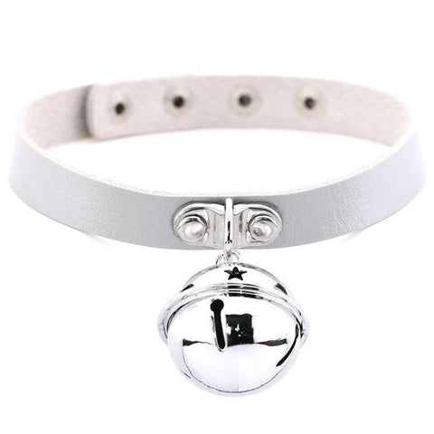 Silver Bell Pendant Leather Choker Necklace