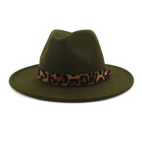 Leopard Print Hatband Felt Fedora (7 Available Colors)