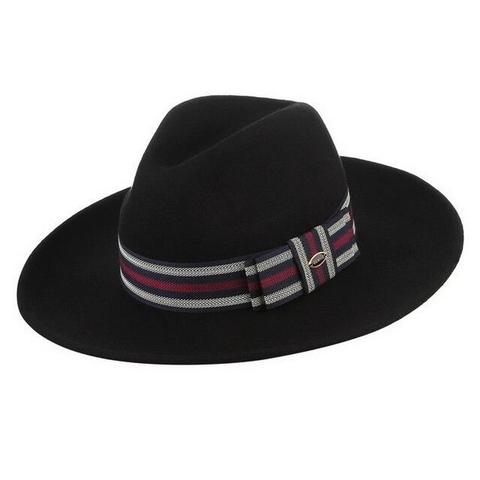 Full Brim Striped Hatband Teardrop Felt Hat (3 Available Colors)