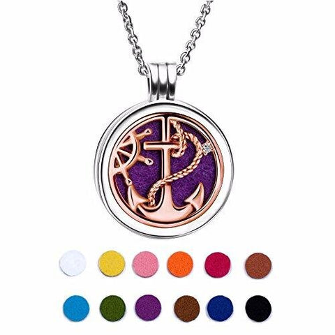 Silver Cubic Zirconia Rose Gold Aromatherapy Diffuser Locket Necklace