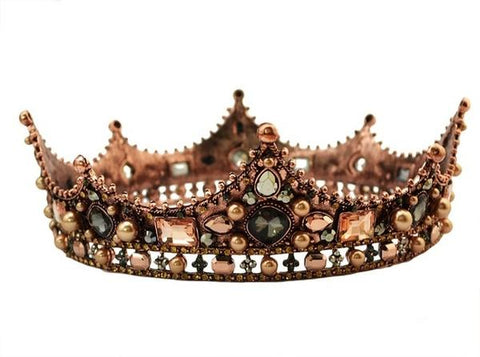 Vintage King and Queen Crowns with Crystals