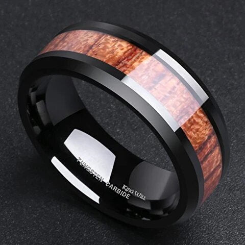 Black Tungsten Carbide with Wood Inlay Wedding Band