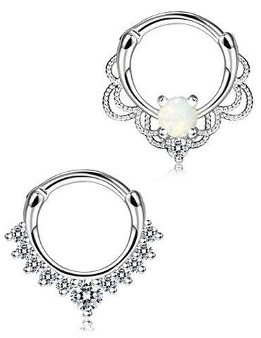 2 Piece Set Stainless Steel Simulated Opal Clicker Nose Ring