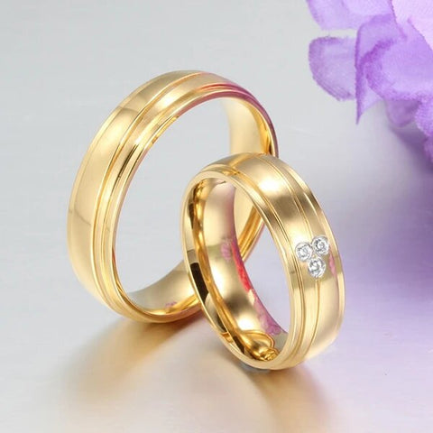 Gold Plated Stainless Steel with Cubic Zirconia Wedding Band