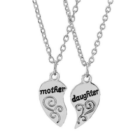 Small Mother and Daughter Heart Silver Plated Pendant Necklace Set